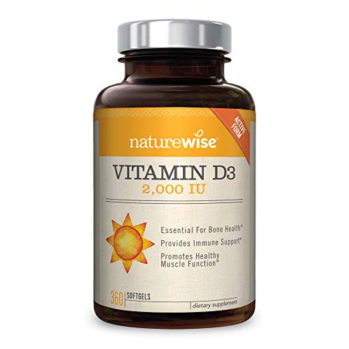 - NatureWise Vitamin D3 2,000 IU for Healthy Muscle Function, Bone Health, and Immune Support | Non-GMO and Gluten-Free in Cold-Pressed Organic Olive Oil Capsule [1-Year Supply - 360 Count]
