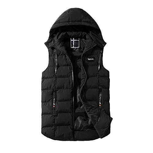 Hooded Winter Vest - Haluoo Men's Winter Puffer Vest Removable Hooded Quilted Warm Sleeveless Down Jacket Gilet Lightweight Padded Coat Outerwear
