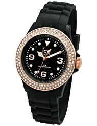 Ice-Watch Womens ST.BK.S.S.09 Stone Sili Collection Black and Gold Silicone Watch
