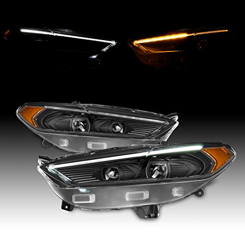 For 2013-2016 Ford Fusion LED DRL Black Bezel Dual Projector Headlight Switchback Signal Lamp Assembly Left + - Aftermarket Fusion Ford