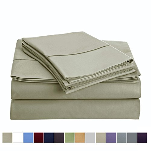 """Audley Home 800 Thread Count 100% Egyptian Cotton Extra Long Staple Bed Sheet Set 4 Piece Bedding Extra Deep Pocket upto 18"""" Soft Breathable Hypoallergenic (California King, Sand)"""