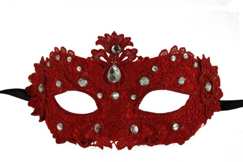NEW Laser Cut Venetian Design Rose Red Masquerade Halloween Ballroom Mask - Elegantly Detailed and Decorated with Crystal Clear (Ballroom Masks)