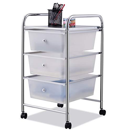 Giantex 3 Drawers Cart Storage Bin Organizer Rolling Storage Cart Metal Frame Plastic Drawers Flexible Wheels Home Office Scrapbook Supply & Paper Shelf, White 3 Drawer Work Cart