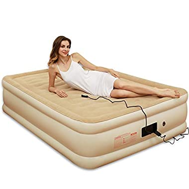 Tuomico 80x60x19IN Queen Air Mattress, Premium Inflatable Air Beds with Built-in Pump for Fast Inflation, Portable Upgraded Flocking Airbeds for Compatible Sleeping, Easy for Travel, Office, etc.