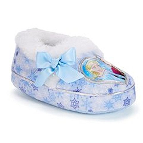 Disne Disney Girl's Anna and Elsa Aline Slippers (Medium/7-8 M US Toddler, Light Blue/Heart)