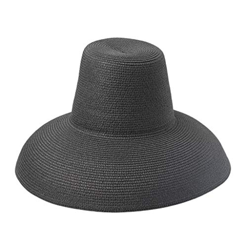 Wide Brim Sun Hat with Wind Lanyard Beach Cap Solid Color Summer Straw Hats UV Protection for Women Mens Black ()