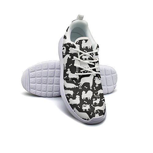 size Shoes Dogs Stability Pug Women 9 White Running Black Funny Wq8BB1