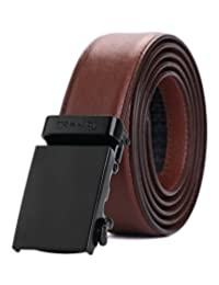 "Tonywell Belt Mens Leather Ratchet Belt Removable Buckle (One Size:32""-45""Waist, Brown Leather&Black Metal Buckle)"