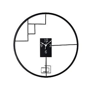 Wall clock Reloj de Pared de Hierro Forjado de Estilo Chino Reloj de Pared de 18 Pulgadas (45 * 45 cm) Dormitorio Reloj de Pared Movimiento metálico Movimiento de Barrido 1 batería AA (sin impuestos) 1