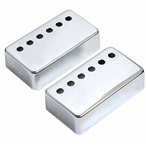 Musiclily 50MM Metal Humbucker Guitar Neck Pickup Covers for Gibson LP Les Paul Electric Guitar, Chrome(Pack of 2)