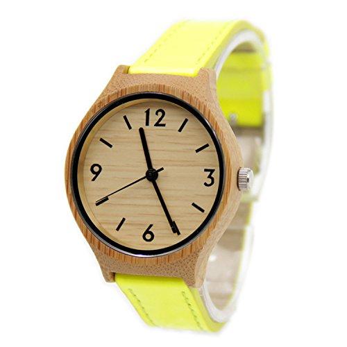Biao&MZ Madera nueva reloj Sra. ocio y negocio natural de la madera bambú reloj de pulsera cuero correa regalo portátiles accesorios , Yellow