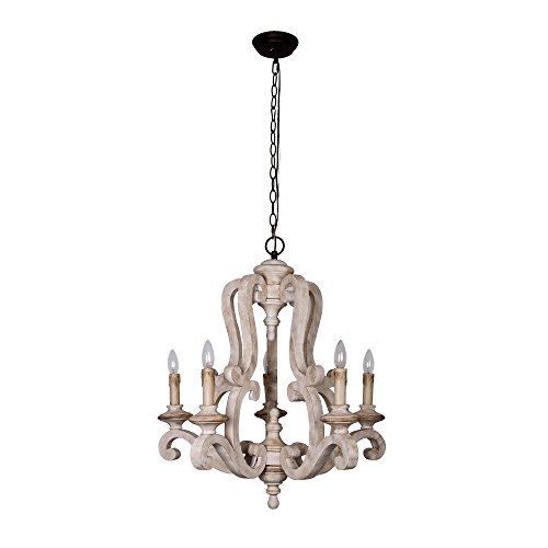- Antique Wooden Chandelier with Candle Bulbs 5 Lights Vintage Farmhouse Pendant Ceiling Lighting, 39 Inch Adjustable Chain, Beige