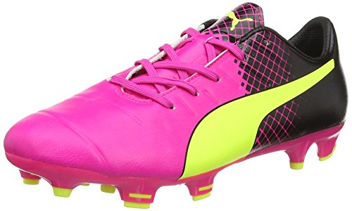 Puma Evopower 1.3 Tricks FG Jr - Botas de Fútbol Unisex Niños Rosa - Pink (pink glo-safety yellow-black 01)