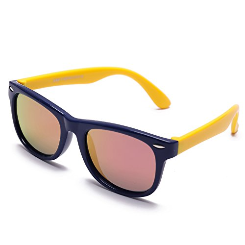 Price comparison product image TPEE Rubber Flexible Kids Child shade Mirrored Lens Polarized Wayfarer Sunglasses Age 3-10,UV Protection - Dark Blue Frame/Yellow Temple