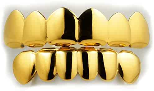 18K Gold Plated Over STAINLESS STEEL Grillz by Niv's Bling - 6 Tooth Hip Hop Grill Top Bottom Set. Perfect for Photoshoot Music Video and Everyday Wear
