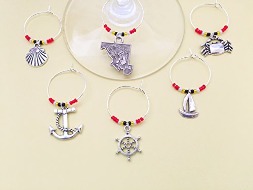 (Maryland Nautical Themed Wine Charms, Ships Ahoy, Sailing gift. Includes Maryland state, Crab, Anchor, Ship Wheel, Lighthouse, Sailboat etc. Beach lover gift. Set of 8. MARYLAND FLAG THEMED BEADS.)