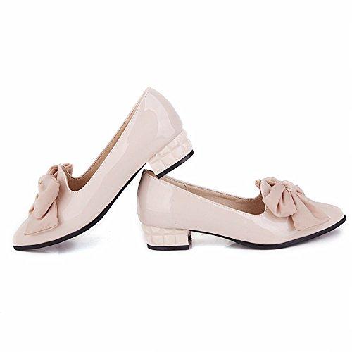 Mostrar Shine Moda Mujer Sweet Bows Zapatos De Punta Estrecha Beige