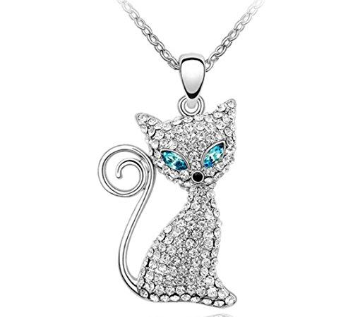 AROUND 101 Austria Swarovski Element Crystal Pendant Necklace -- Magic Eye Cat (Blue)
