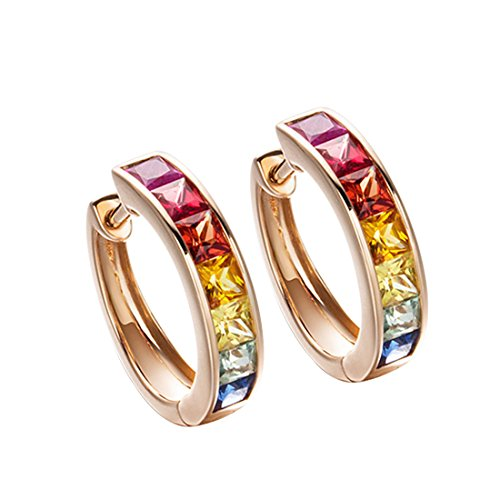 Carleen 18k Solid Rose Gold Channel Setting Multi Colored Rainbow Princess Cut Natural Sapphire Hinged Huggie Hoop Earrings Dainty Delicate Fine Jewelry For Women Girls Diameter (Multi Colored Sapphire Earrings)