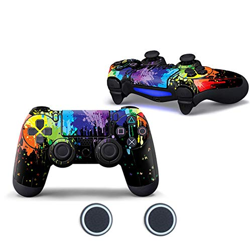 Price comparison product image Sololife Paint PS4 Controller Skin with Two Silicone Thumb Grip Caps for Sony Playstation 4 DualShock Wireless Controller