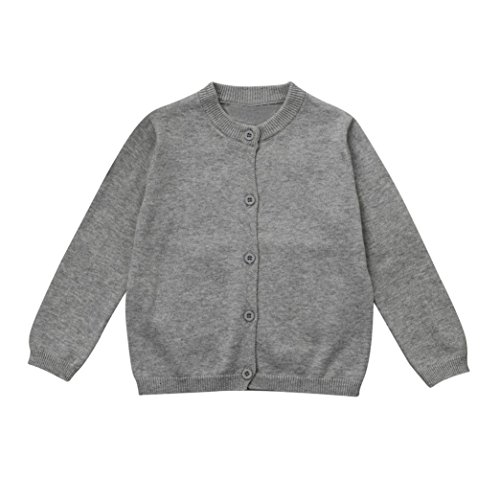 Moonker Fashion Toddler Kid Baby Boys Girls Clothes Knitted Colorful Solid Sweater Cardigan Outerwear Coat Tops (Gray, 2-3years)
