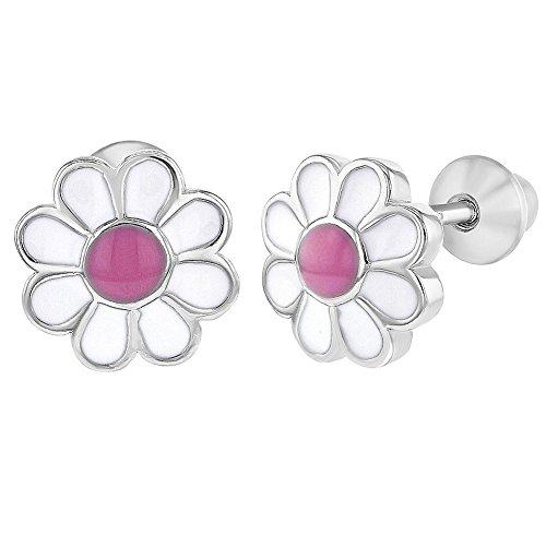 925 Sterling Silver Pink Enamel Daisy Flower Earrings Screw Back Baby Girls