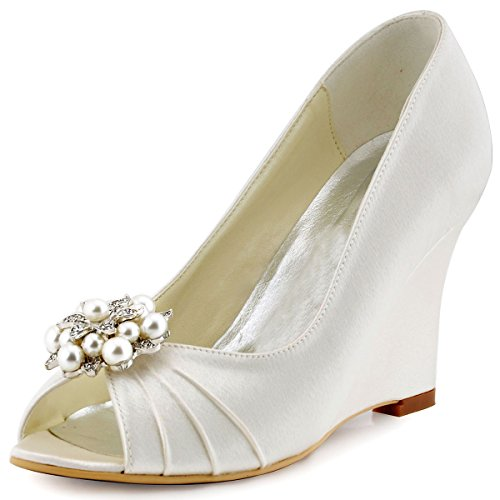 ElegantPark WP1549 Women High Heel Pumps Peep Toe Pearls Clips Satin Bridal Wedding Wedges Ivory US 6 -