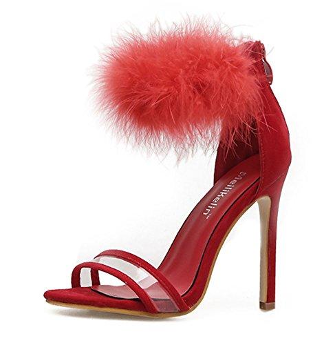 Aisun Damen Transparent Offene Zehen Kunstfell Knöchelriemchen Stiletto Sandale mit Reißverschluss Rot