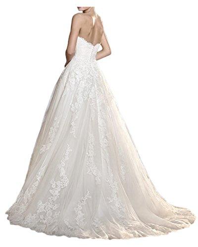 Gorgeous Bride Luxury Traegerlos A-Linie Lang Satin Tuell Spitze Brautkleider Hochzeitskleider