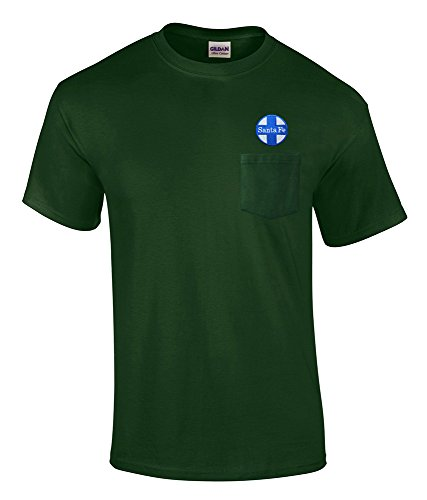 AT&SF Santa Fe Blue Cross Logo Embroidered Pocket Tee Forest Green Adult 2XL [p16]