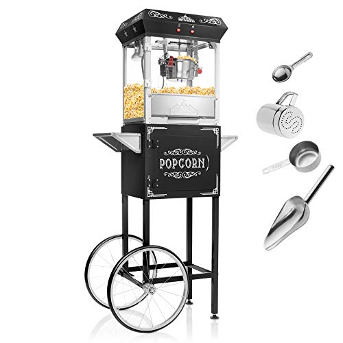 Olde Midway Vintage Style Popcorn Machine Maker Popper with Cart and 6-Ounce Kettle - Black -