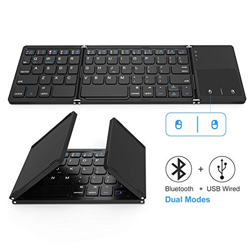c7a19c673a1 Foldable Bluetooth Keyboard, Jelly Comb Dual Mode Bluetooth & USB Wired  Rechargable Portable Mini BT