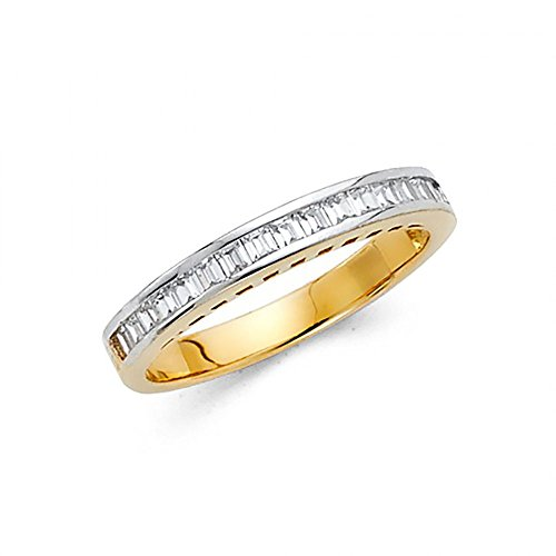 14k Yellow Gold Channel Set Baguette CZ Womens Wedding Band