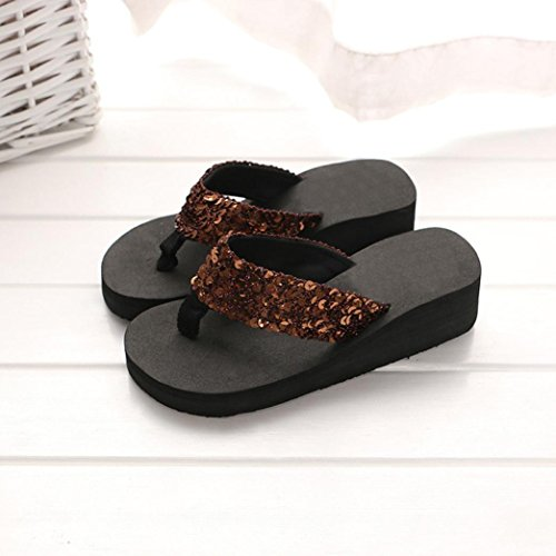 Ouneed Mujeres verano lentejuelas playa interior & Outdoor flip-flop zapatillas café