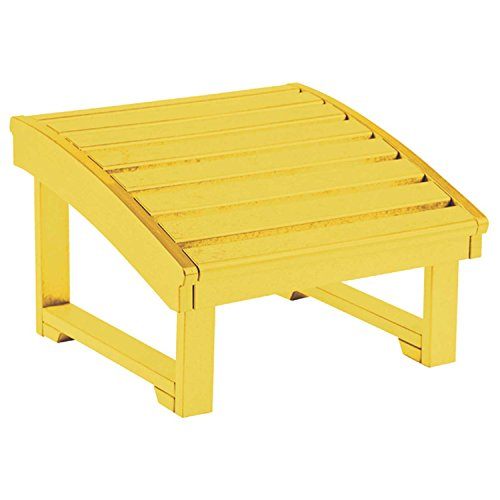 Recycled plastic upright adirondack chair pull out footstool yellow 32 l x 22 w x 14 h - Plastic adirondack footrest ...