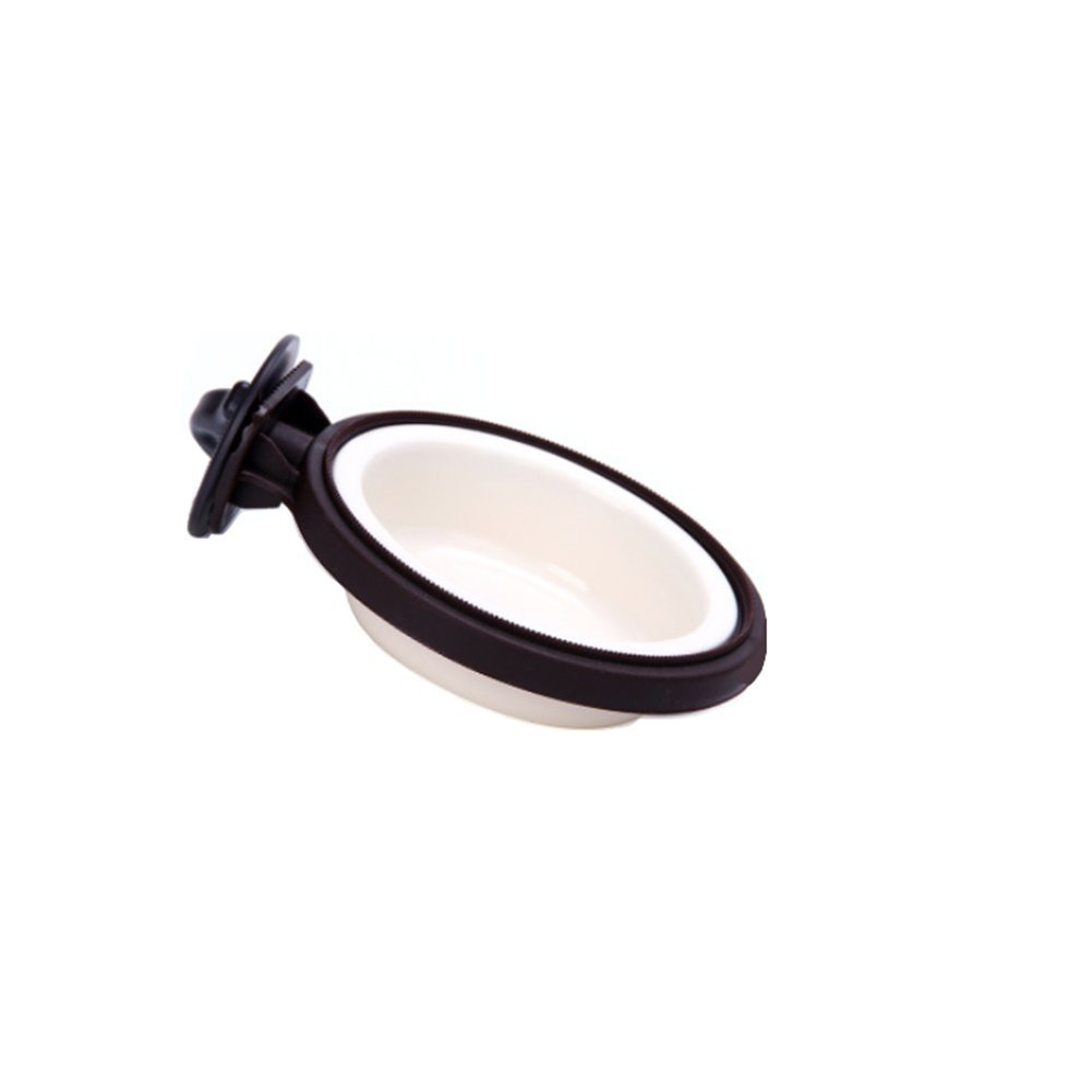 ANONE Plastic Hanging Hay Water Food Bowl Dish Use Feeder for Hamster Rabbit Chinchilla Guinea Pig Ferret (Large, Black) by ANONE