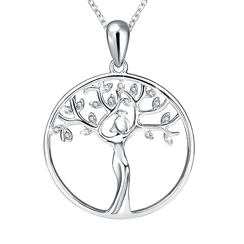 Life Charm Necklace - Apotie Sterling 925 Silver Luck Tree Of Life Pendant Charms Necklaces For Women Or Girls Long jewelry gift