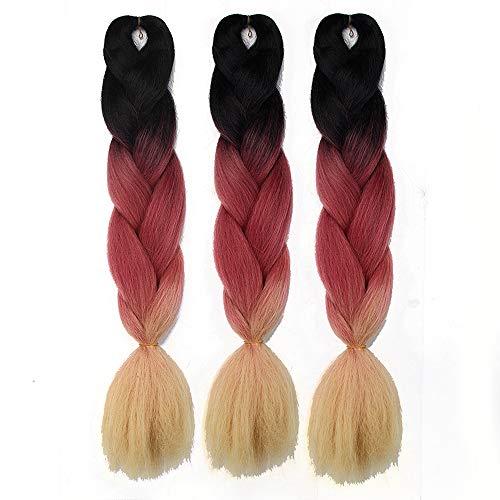 (Synthetic Yaki Jumbo Braiding Hair Extensions Kanekalon Ombre Braiding Hair for Women and Girls Crochet Braids(24 inch 3packs, Black/Pink/613))