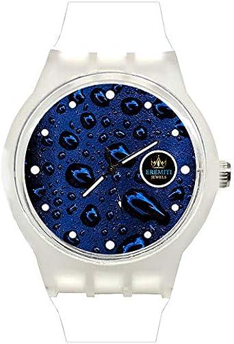 Reloj de Pulsera Personalizado Custom Watch Caja y Correa de Goma Antideslizante Gotas de Agua esférica Azul bajo el Agua Water Drops Blue Background Underwater Bianco: Amazon.es: Relojes