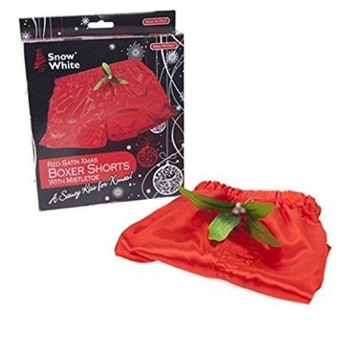 Calzoncillos bóxer de Navidad, para hombre, de satén rojo, con muérdago, detamaño mediano.