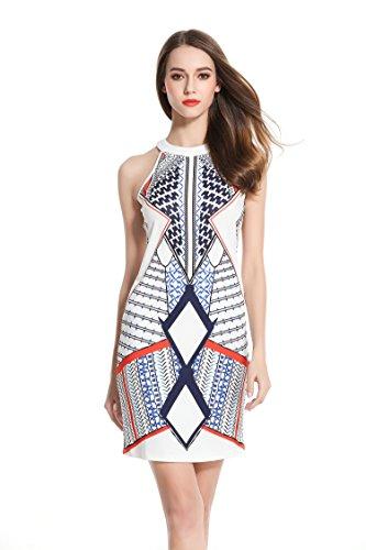 Verthome Womens Scoop Neck Geometric Sleeveless Short Fitted Dress  White  Small