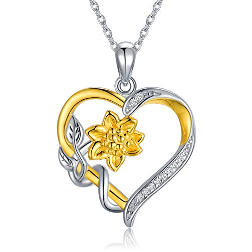 "Nature Diamond Sunflower Heart Necklace for Women Sterling Silver, You are My Sunshine Anniversary Jewelry for Wife/ Girlfriend, Love Gifts for Her (0.11ct) 16""-18"""