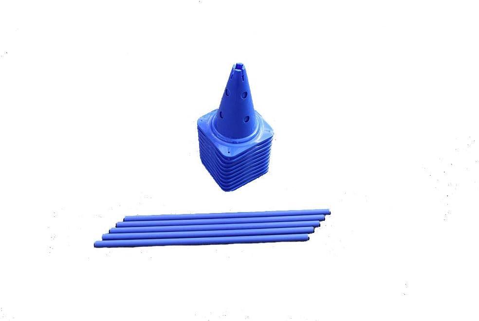 調整トレーニングのための5つのハードルのBojeスポーツセット - 10x MZK:30 cmまたは0.98 ft、ブルー/ 5x pole:80 cmまたは2.6 ft、ブルー