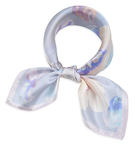 """corciova 21"""" Women 100% Mulberry Silk Neck Hair Wrapping Sleeping Square Scarfs Ink Flower Painting Light Grey"""