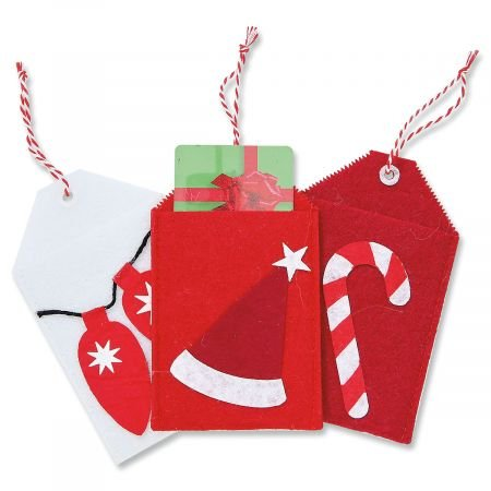 Christmas Present Tag Felt Gift Card Holders- Set of 6 Festive Gift Holiday Card Pockets (Gift Tags Felt)