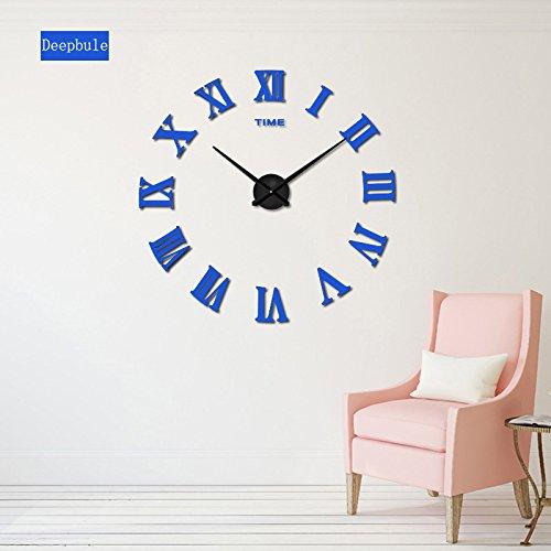 (RUEbahl Homedecoration Wall Clock Big Mirror Wall Clock Modern Design Large Size Wall Clocks DIY Wall Sticker Unique Gift Blue 37inch)