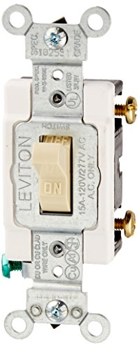 Leviton CS115-2I 15 Amp, 120/277 Volt, Toggle Single-Pole Ac Quiet Switch, Commercial Grade, Grounding, Ivory