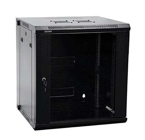12U Professional Wall Mount Server Cabinet Enclosure Double Section Hinged Swing Out 19-Inch Server Network Rack Locking Glass Door 16-Inches Deep Black (Fully Assembled)