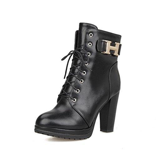 AllhqFashion Damen Schnüren Rein Hoher Absatz Weiches Material Niedrig-Spitze Stiefel, Schwarz, 42