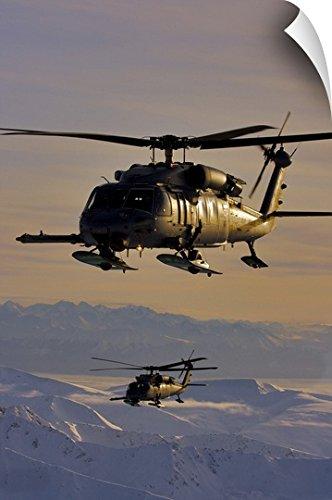 Alaska Air National Guard (Canvas on Demand Stocktrek Images Wall Peel Wall Art Print entitled Two Alaska Air National Guard HH-60G Pave Hawks in flight over Alaska 16